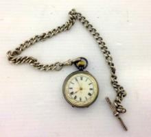 A Swiss,Solid Silver Ladies Fob Pocket Watch and chain.