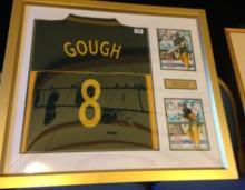 A framed and glazed match worn Darren Gough signed Essex Eagles shirt.