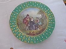 18th century hand painted pictorial plate with