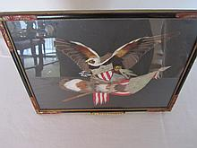 Framed american bald eagle with flag - folk art