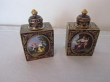 Pair of 19th century Royal Vienna scent bottles in