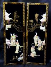 Pair of Japanese Lacquered Panels 20th C.