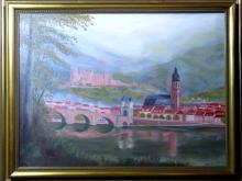 Large Folk Art landscape O/C of Heidelburg Germany