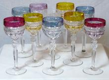 Group Of Bohemian Style Crystal Wine Stems