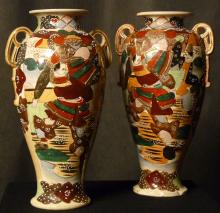 Pair of Early 20th C. Japanese Satsuma Moriage Earthenware Vases