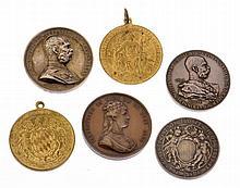 Insieme di sei medaglie per gli anniversari di intitolazione - 6 Jubiläums-Inhabermedaillen