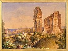 Scuola inglese del XIX secolo  Rovine nel paesaggio Acquarello su carta