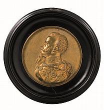 Bassorilievo in bronzo dorato di Re Vittorio Emanuele II di Savoia