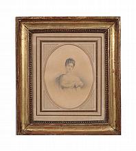 Giovane donna inizio XIX secolo disegno su carta