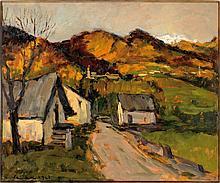Felice Vellan Paesaggio montano con case e strada