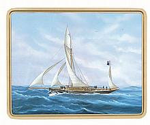 Scuola napoletana fine XIX secolo Barca a vela