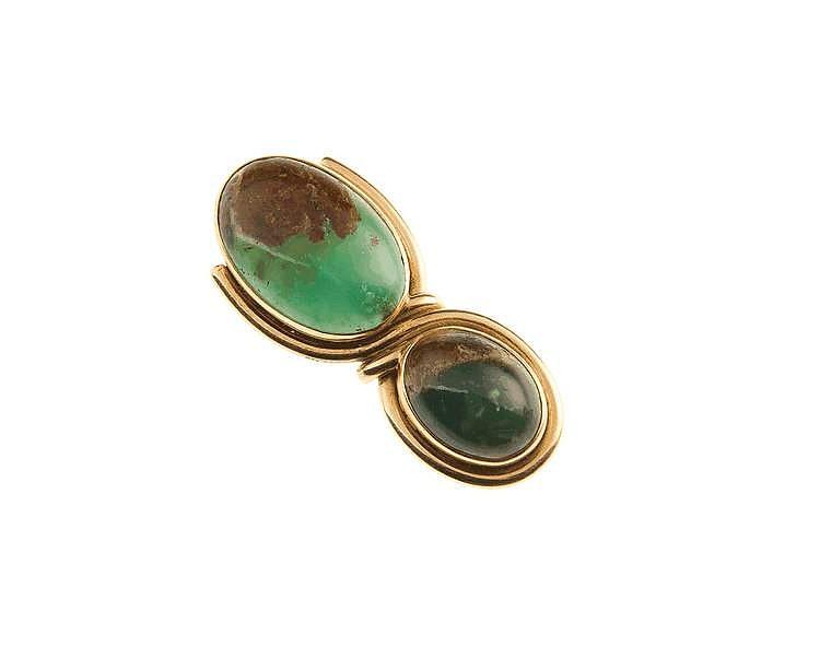 Smaragd-Revers-/Schal-Clip GG 750/000, ausgefasst