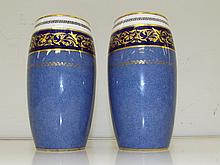 A pair of Royal Doulton vases blue, white with gilt (some rubbing on gilt)