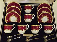 Royal Worcester cased presentation tea set 6x cups 6x saucers 6x sterling s
