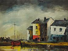 Arnold Taylor, oil on canvas, harbour scene, signed bottom right Arnold, additional info to verso, 59cm x 89cm