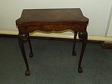 Good quality older reproduction burr walnut fold-over card table, shaped ed