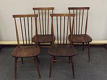 Set of four dark Ercol dining chairs, height 92cm