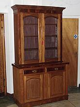 Late Victorian mahogany bookcase, upper section with projecting cornice abo