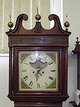 An early 19th century painted dial country house long-case clock in mahogan