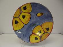 Poole Pottery wall charger, in the Wild Poppy pattern, diameter 40cm