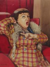 Colin C. Hilton (20th century Bolton artist), framed watercolour, portrait of Hylda Baker, 60cm x 46cm (evidence of sporadic foxing)