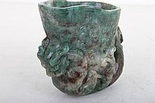 [CHINESE]A JADE CARVED CUP WITH HANDELS L:4