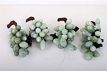 [CHINESE]A  SET OF JADE CARVED GRAPES(4 ITEMS) L:7.25
