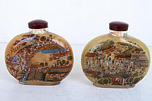 [CHINESE]A PAIR OF INSIDE PAINTING SNUFF BOTTLE PAINTED WITH PICTURE OF THE RIVERSIDE SCENCE OF PURE BRIGHTNESS  L:4.75