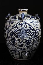 [CHINESE]A LATE 19TH CENTURY BLUE AND WHITE PORCELAIN JAR WITH ELEPHANT SHAPED HANDLE PAINTED WITH PHOENIX AND PEONY W:9.5