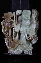 [CHINESE]A LATE 19TH CENTURY JADE CARVED FIGURE OF LIUHAI (771g) W:5
