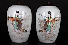 [CHINESE]A PAIR OF LATE 19TH CENTURY FAMIILE ROSE PORCELAIN JAR PAINTED WITH FIGURES W:5.25