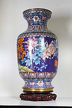 [CHINESE]A LATE 19TH CENTURY CLOISONN ENAMEL VASE PAINTED WITH PEONY AND PHEASANT W:9