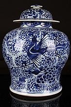 [CHINESE]A LATE 19TH CENTURY BLUE AND WHITE PORCELAIN JAR PAINTED WITH THE PHOENIX AND PEONY W:9