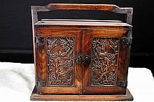 [CHINESE]A LATE 19TH CENTURY WOOD CARVED BOX WITH FIGURES OF BLOSSOM AND BIRDS L:13.5