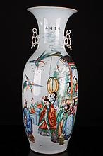 [CHINESE]A LATE 19TH CENTURY FAMILLE ROSE PORCELAIN VASE PAINTED WITH FIGUERS AND PHOENIX W:9