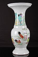 [CHINESE] LATE 19TH CENTURY FAMILLE ROSE PORCELAIN VASE PAINTED WITH FIGURES AND COCKS W:9