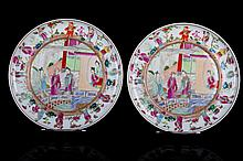 [CHINESE] A PAIR OF 19TH CENTURY GUANG GLAZED PROCELAIN PLATES PAINTED WITH FIGURES OF THE CHINESE STORY OF THE PEONY PAVILLION W:8.5