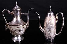 [CHINESE] A PAIR OF LATE 19TH CENTURY STERLING SILVER MADE WINE BOTTLES CARVED WITH DRAGON AND PHOENIX(270g) W:5.3