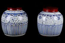 [CHINESE] 19TH TO 20TH CENTURY A PAIR OF CHINESE BLUE AND WHITE PORCELAIN JARS PAINTED WITH FLOWERS (WITH CERTIFICATE) (2) W:7.5