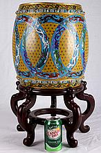 [CHINESE] CLOISONNE ENAMEL STOOL PAINTED WITH DRAGON AND PHOENIX W:9