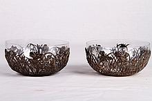 [CHINESE] REPUBLIC PERIOD A PAIR OF GLASS BOWL WITH STERLING SILVER HOLLOW OUT CARVED FLOWER AND 'YUANXIANG