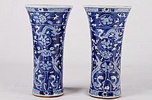 [CHINESE] A PAIR OF CHINESE 19TH CENTURY BLUE AND WHITE PORCELAIN VASES DECORATED WITH DUELING DRAGONS W:4.75