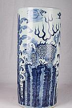 [CHINESE] LATE 19TH CENTURY BLUE AND WHITE PORCELIAN VASE PAINTED WITH QILIN W:4.5
