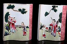 [CHINESE] A PAIR OF FAMILLE ROSE PROCELAIN BRUSH POT PAINTED WITH FIGURES
