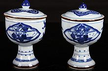 [CHINESE] A PAIR OF QING DYNASTY BLUE AND WHITE PROCELAIN STEAM CUP WITH CAPS PAINTED WITH FIGURES H:4.3
