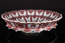 [CHINESE]A LATE 15TH CENTURY IRON RED GLAZED PORCELAIN LOTUS SHAPED PLATE PAINTED WITH CLOUDS W:14.5