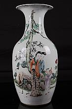 [CHINESE]A LATE 19TH CENTURY QIANJIANG GLAZED PORCELAIN VASE PAINTED WITH FIGURS W:8