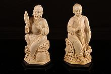 [CHINESE]A LATE 19TH CENTURY IVORY CARVEING WITH FIGURES (MEASURED WITH THE STAND) (699g) L:3