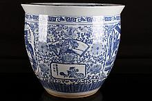 [CHINESE]A LATE 19TH CENTURY BLUE AND WHITE PORCELAIN TANK PAINTED WITH FIGURES AND FLOWERS W:18