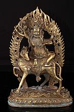 [CHINESE]A LATE 19TH CNETURY GILT BRONZE FIGURE OF PALDEN LHAMO W:7.25